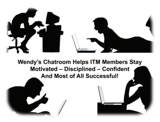Silhouettes of people at various computers - Wendy's chatroom helps ITM members stay motivated - disciplined - confident and most of all successful!
