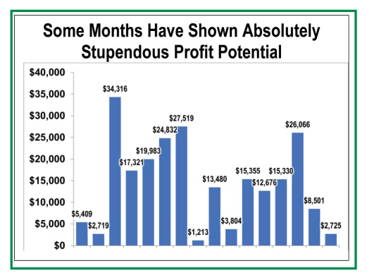 Some Months Have Shown Absolutely Stupdendous Profit Potential - Bar chart showing monthly profits, as described in surrounding text
